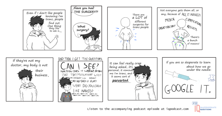 Inappropriate Questions Podcast webcomic, episode 1, trans issues