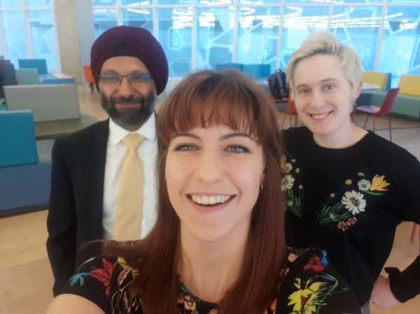 Marianna Miniotis, Elena Hudgins-Lyle and Harvinder Wadhwa (hosts of Inappropriate Questions Podcast) in Toronto, Ontario, Canada